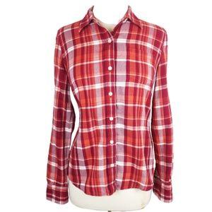 Lucky Brand Flannel Button Shirt Orange Red S
